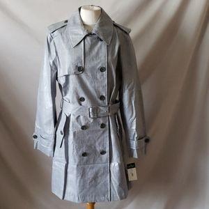 New Ralph Lauren Laminated Glen Plaid Trench Coat